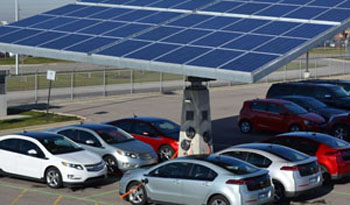 EV charging with solar canopy